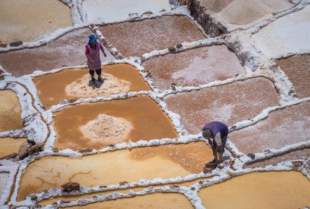 extracting: SALINAS DE MARAS, PERU - OCTOBER 12, 2015: Workers extracting salt at Salinas de Maras, man-made salt mines near Cusco, Peru