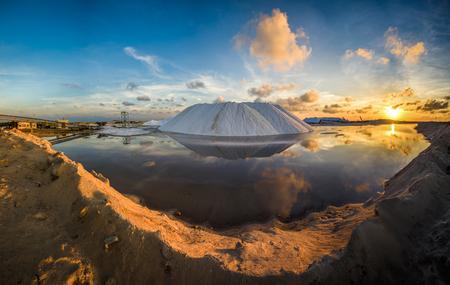 Natural sea salt producing in Las Coloradas, Yucatan, Mexico