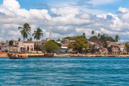 Lamu old town waterfront, Kenya, UNESCO World Heritage site 스톡 콘텐츠