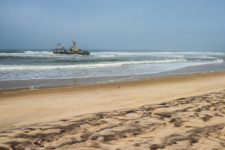 Shipwreck on beach, Skeleton Coast, Namibia