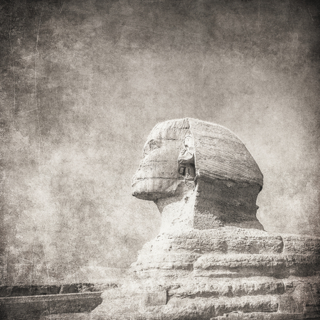 cheops: grunge image of sphynx and pyramid Stock Photo