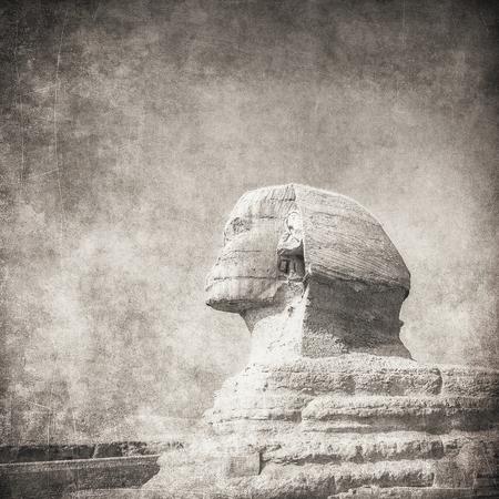 chephren: grunge image of sphynx and pyramid Stock Photo