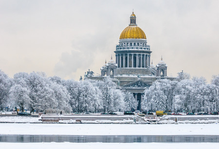 Saint Isaacs Cathedral in winter, Saint Petersburg, Russia Editorial