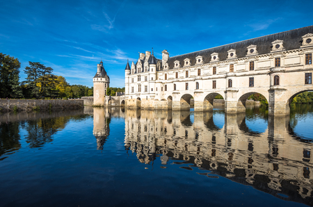 Chateau de Chenonceau on the Cher River, Loire Valley, France Editorial