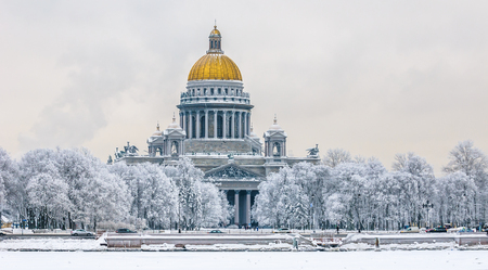 Saint Isaacs Cathedral in winter, Saint Petersburg, Russia Stock Photo