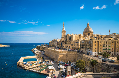 View of Valletta, the capital of Malta 스톡 콘텐츠