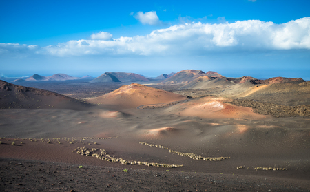 Volcanic landscape at Timanfaya National Park, Lanzarote Island, Canary Islands, Spain