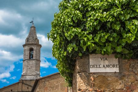 Via dellAmore or Love Street in Pienza, Tuscany, Italy Stock Photo