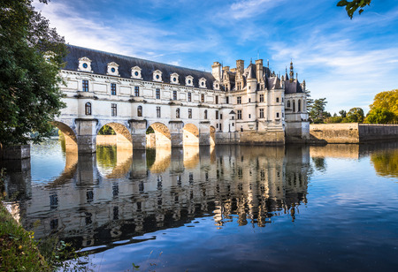 Chateau de Chenonceau on the Cher River, Loire Valley, France 스톡 콘텐츠