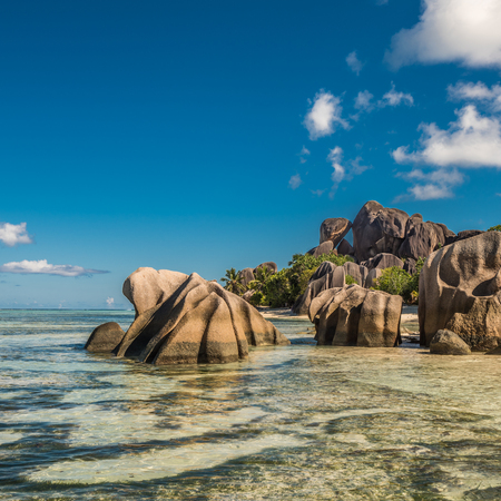 Tropical island beach, Source dArgent, La Digue, Seychelles Stock Photo