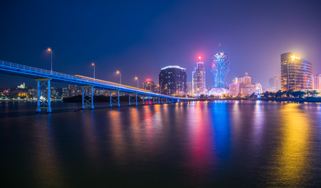 Macau city skyline at night 免版税图像
