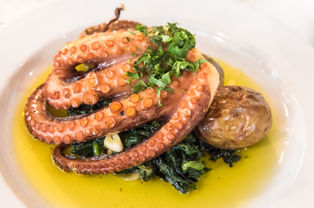 A plate of roasted octopus portuguese style Banco de Imagens