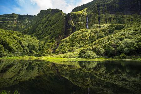 Poco da Ribeira do Ferreiro, Flores island, Azores, Portugal. Banque d'images