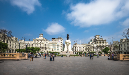 Plaza San Martin in the historic centre of Lima, Peru 에디토리얼