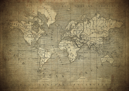 vintage map of the world published in 1847 Stok Fotoğraf
