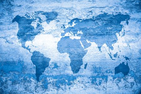 grunge kaart van de wereld Stockfoto