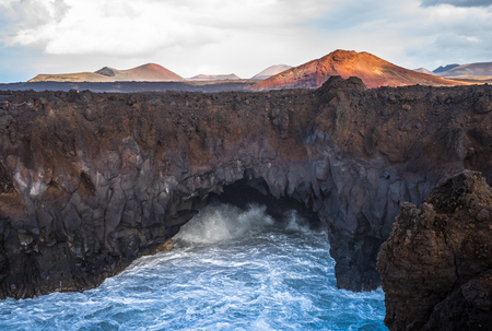 Los Hervideros lava caves in Lanzarote, Canary islands, Spain