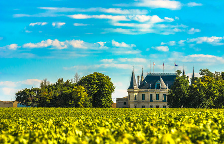 Chateau y viñedo en Margaux, Burdeos, Francia Foto de archivo
