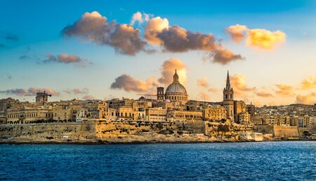 Sunset view of Valletta, the capital of Malta.