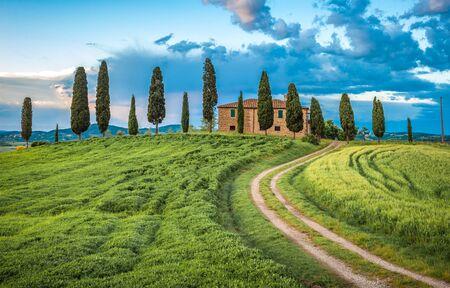 Malerischer Blick auf die typische Landschaft der Toskana, Italien Standard-Bild