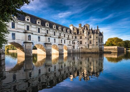 Chateau de Chenonceau on the Cher River, Loire Valley, France Stock Photo