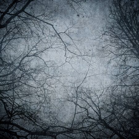 Grunge image of tree silhouettes. Perfect halloween background. Stock fotó