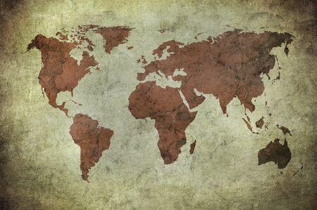 grunge kaart van de wereld