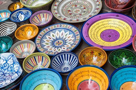 Traditional handcrafted ceramic pottery in Morocco Stock fotó
