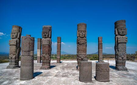 Toltec Warriors or Atlantes columns at Pyramid of Quetzalcoatl in Tula, Mexico Stock fotó