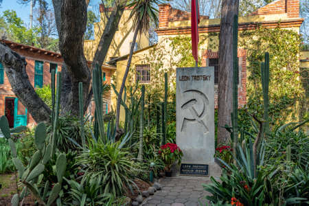 MEXICO CITY, MEXICO - February 22, 2020: Leon Trotsky tomb in his House Museum in Coyoacan, Mexico City.