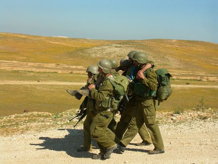 injured soldier - exercise of israel defence forces photo