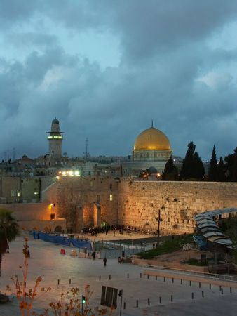 jerusalem old city at evening - wailing wall, dome of the rock. israel