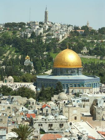 Jerusalem view - old city, temple mount - dome of the rock, mosque, church, synagogue Stock Photo