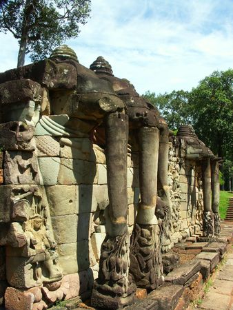Elephant statues in Cambodia temples - angkor wat - tourist site photo