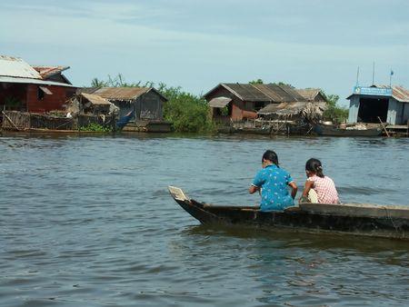 fisher animal: Cambodia lake - beautiful nature, poor people Stock Photo