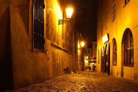 Prague street at night - mysterious scene in old prague city Stock Photo