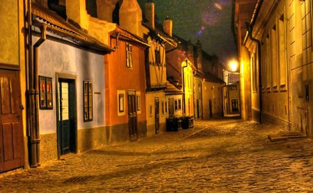 prague castle: Prague street at night - mysterious scene in old prague city Stock Photo