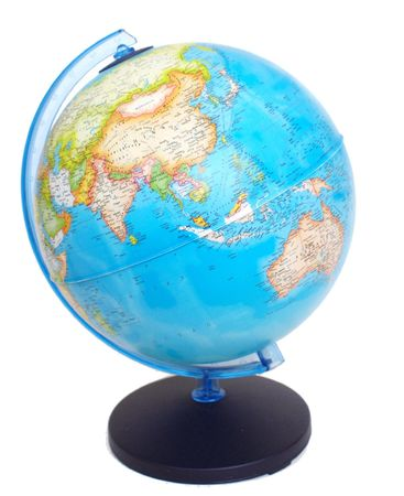 asia on a globe Stock Photo