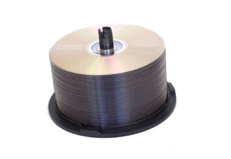 empty dvdcd stack on white background, isolated
