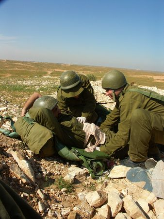 injured soldier - exercise of israel defence forces Stock Photo