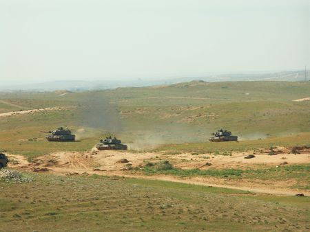 Tanks attack in a military exercise