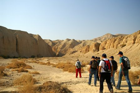 walkers, tourists in Arava desert, Israel