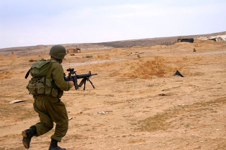 israeli soldiers attack - battle field - military exercise Stock Photo