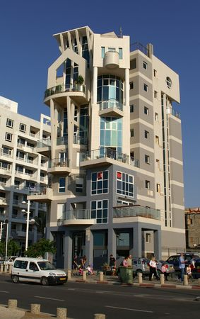 Tel Aviv promenade buildings, hotels, sea shore - modern architecture Stock Photo
