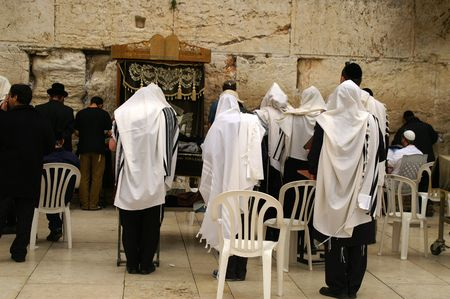 Jewish prayers new wailing wall in Jerusalem, Israel photo