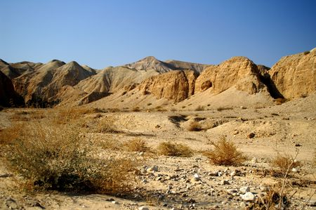 hiking in Arava desert, Israel, stones and sky