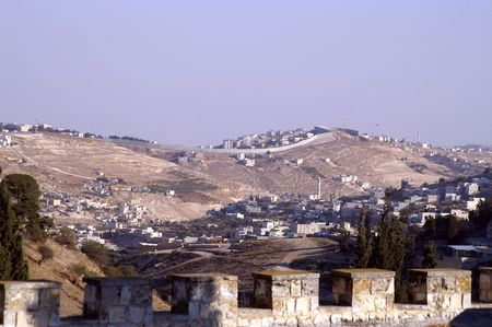 Jerusalem dividing wall view from the west photo