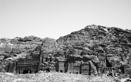 bw: Nabatean ruins and cliffs in Petra site Jordan (black and white)