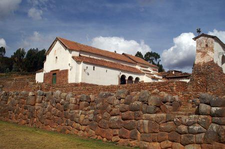 quechua: Inca ruins - peruvian cultural heritage in Ands, Chinchero, Peru Stock Photo