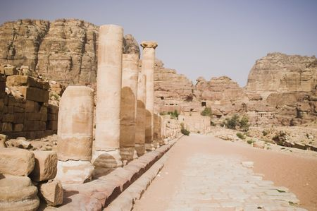 jones: Tourist vacation in nabatean town Petra, beduins experience, Jordan Stock Photo
